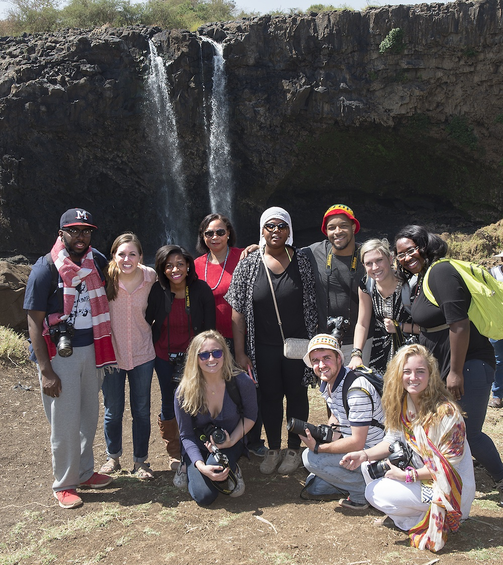Meek School students and faculty at the Blue Nile Falls in Bahir Dar, Ethiopia, on Saturday, Jan. 17. Ten students were in Ethiopia for a depth reporting project during Winter Intersession.