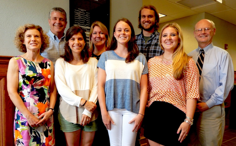 Four Meek School faculty members were among 15 professors honored campus-wide for their kindness to students by members of the Student Alumni Council. Pictured, left to right, are the professors and the students who nominated them. Front row: Senior Lecturer Robin Street and students Augusta Williams, Virginia Mayo and Sarah Bracy Penn. Back row: Assistant professors Scott Fiene and Chris Sparks, student Luke Love and Dean Will Norton. Photo credit: Charlie Mitchell