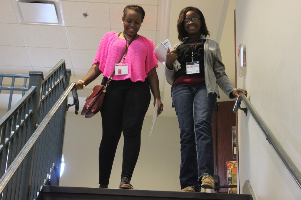 Amber Wright(Left) a and Tierra Woodard(right) are currently a students at Houston High school. Wright and Woodward are attending the MSPA conference 2015. Woodard and Wright are interested in journalism.