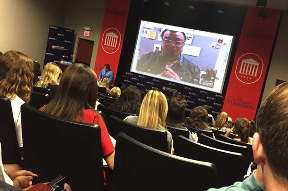 Time magazine art director talks with students via Google Hangouts