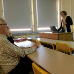 Kathleen Wickham addresses American Studies students at Rennes University. Attending the lecture is Alain Guihard (left), brother of slain French reporter Paul Guihard.