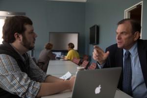 WLOX News Director Brad Kessie critiques the work of Breck Jones, a broadcast journalism major. Photo by Ji Hoon Heo, April 4, 2016.