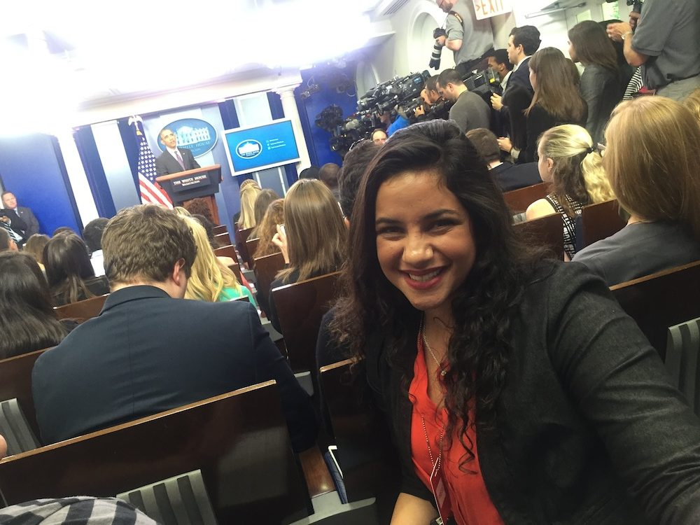 President Obama answers Meek School student's question at College Reporter Day briefing